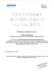 Auma certyfikat na 2013 r