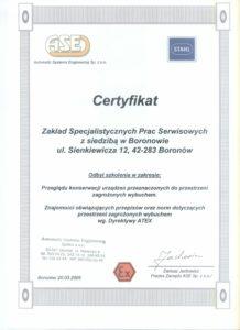 Certyfikat ATEX EX
