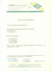 Certyfikat Liquip Sales PTY Limited