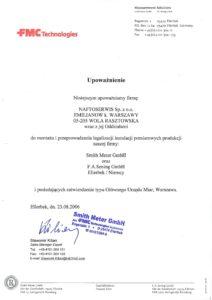 upoważnienie firm Smith Meter GmbH i F.A.Sening GmbH