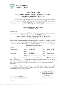 Świadectwo uznania do wykonywania prób szczelności nr DT-ZB-152-C-17