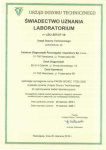Świadectwo uznania laboratorium nr LBU-291-27-18