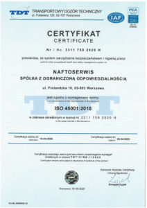 certificate 45001 with PCA