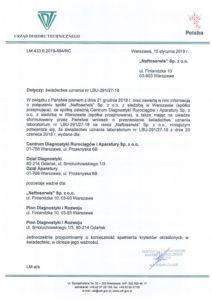 Potwierdzenie przeniesienia świadectwa uznania laboratorium LBU-291/27-18