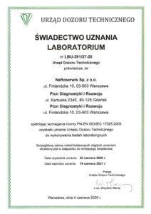 Świadectwo uznania laboratorium LBU-291/27-20 1/3