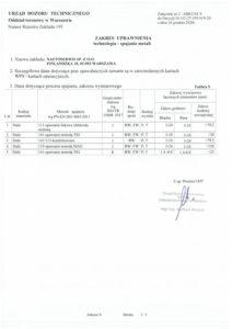 Decyzja UTD Nr UC-27-195-N/9-20 - Zakres uprawnienia 2/2