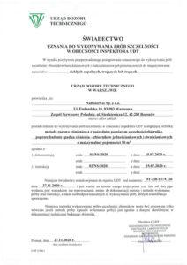 Świadectwo uznania do wykonywania badań szczelności nr DT-ZB-187/C/20