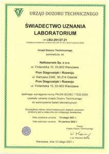 Świadectwo uznania laboratorium LBU-291/27-21