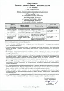 Załącznik do Świadectwa uznania laboratorium LBU-291-27-21